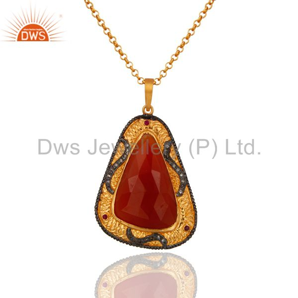 18k Gold Over Sterling Silver Pave Diamond Carnelian Gemstone Pendant Necklace
