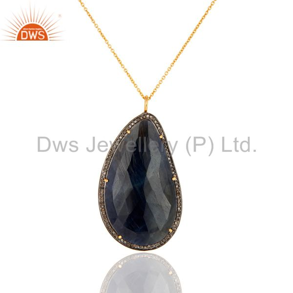 18K Gold Over Silver Diamond Pave Blue Sapphire Drop Pendant Gemstone Jewelry