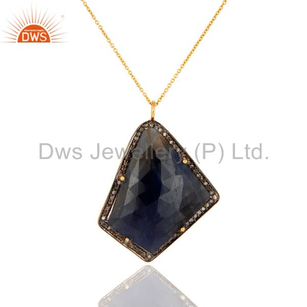 Prong Set Blue Sapphire Gemstone Pave Diamond Sterling Silver Fashion Pendant