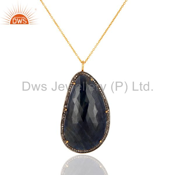 Gorgeous Blue Sapphire Gemstone Pave Diamond Sterling Silver Pendant Necklace