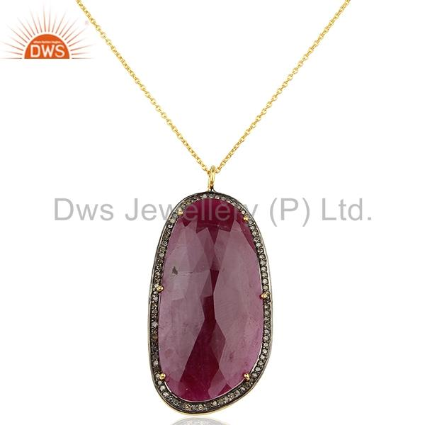 18k Yellow Gold Plated Sterling Silver Diamond Cut Ruby Chain Pendant Jewelry