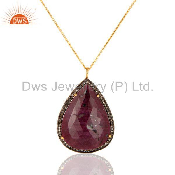 18K Gold Over Sterling Silver Diamond Accent Ruby Gemstone Pendant With Chain