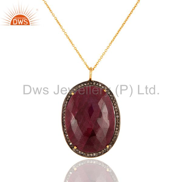 Natural Ruby Pave Set Diamond Solid Sterling Silver Pendant Necklace For Women