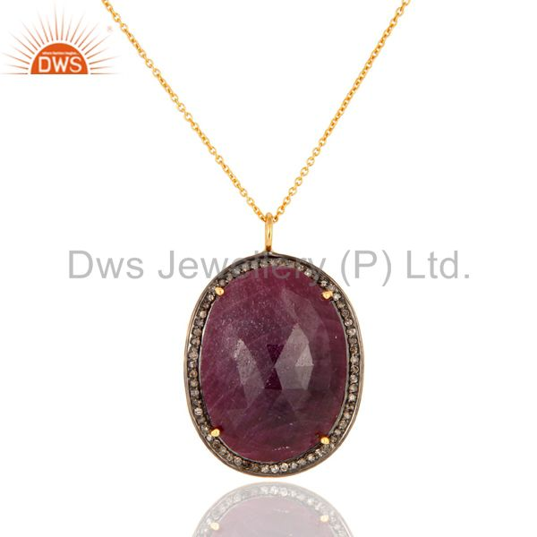 Genuine Ruby Pave Diamond Designer Pendant 18k Gold Over Sterling Silver Jewelry