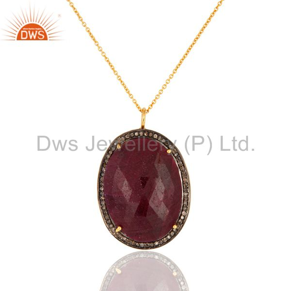 Natural Ruby Pave Diamond 925 Sterling Silver Pendant Designer Handmade Jewelry
