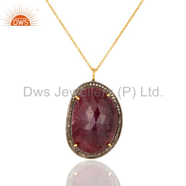 Handmade Sterling Silver Natural Diamond Pave Ruby Gemstone Pendant Necklace