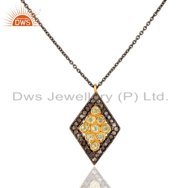 Rhodium Plated Sterling Silver Peridot And Diamond Accent Drop Pendant 18