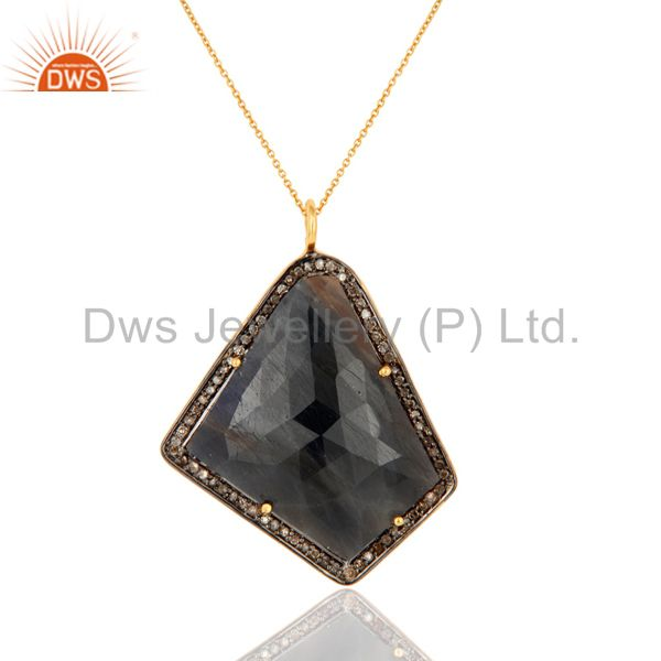 925 Sterling Silver Pave Set Diamond Blue Sapphire Gemstone Pendant With Chain