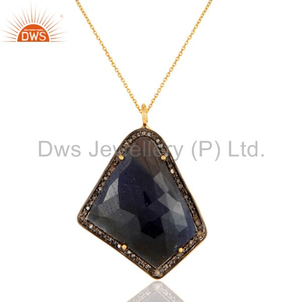 Natural Blue Sapphire Fancy shape Slice Pave Diamond Silver Pendant With Chain