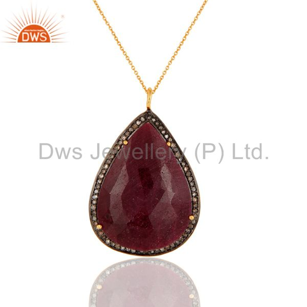 Pave Diamond Natural Gemstone Pendant In 18K Gold Over Sterling Silver
