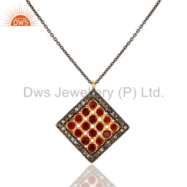 Pave Set Diamond Garnet Gemstone Pendant Chain In Rhodium Plated Sterling Silver