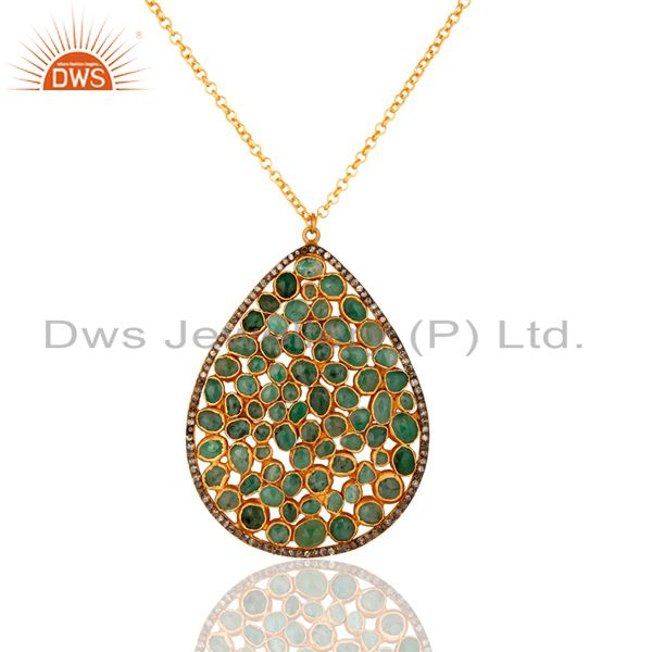 Diamond Pave Sterling Silver Emerald Gemstone Pendant Necklace - Gold Plated