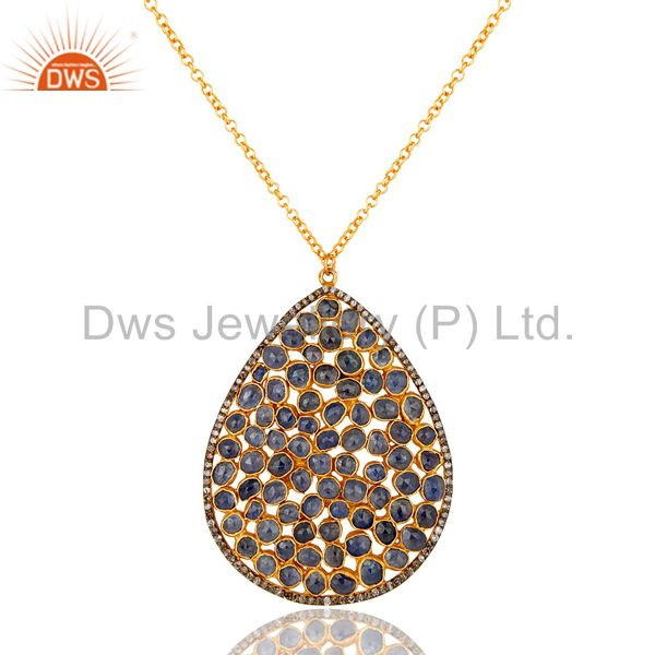 Diamond and Blue Sapphire 18K Gold Plated Sterling Silver Necklace