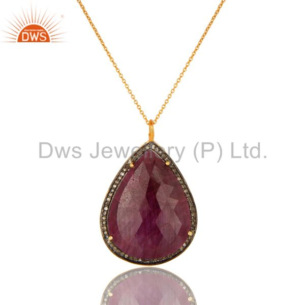 18K Yellow Gold Sterling Silver Natural Ruby And Pave Diamond Pendant With Chain