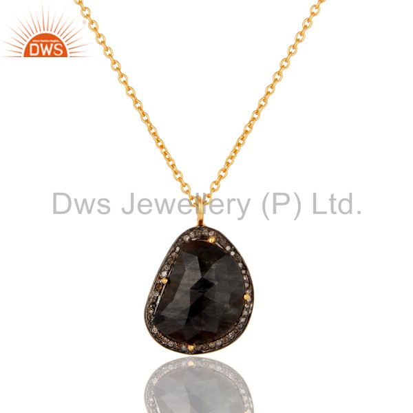 Blue Sapphire Unshape and Pave Diamond Gold Plated Sterling Silver Necklace