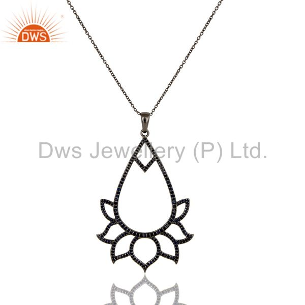 Black Oxidized Sterling Silver Blue Sapphire Lotus Style Chain Pendant Necklace