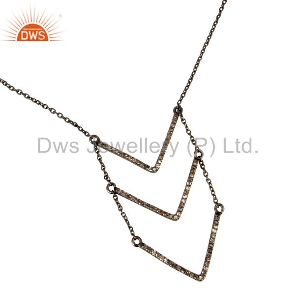 Black Oxidized Good Looking Sterling Silver Diamond Round Chain Pendant Necklace