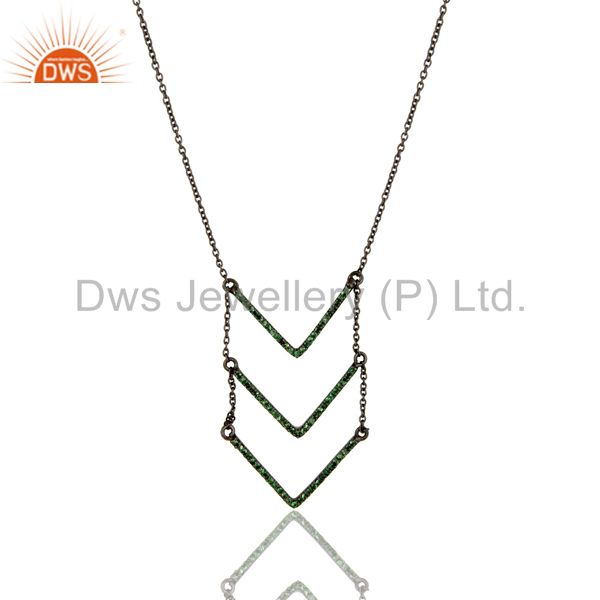 Black Oxidized Good Looking Sterling Silver Tsavourite Chain Pendant Necklace