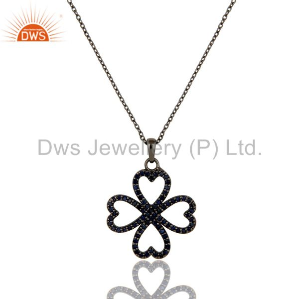 Black Oxidized with Blue Sapphire Flower Design Sterling Silver Pendant Necklace