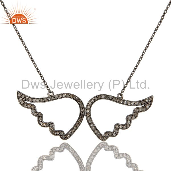 Black Oxidized with Diamond Sterling Silver Pendant Necklace