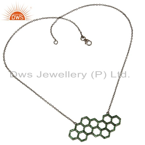 Hollow Out Hole Tsavourite Round Oxidized Sterling Silver Chain Pendant Necklace