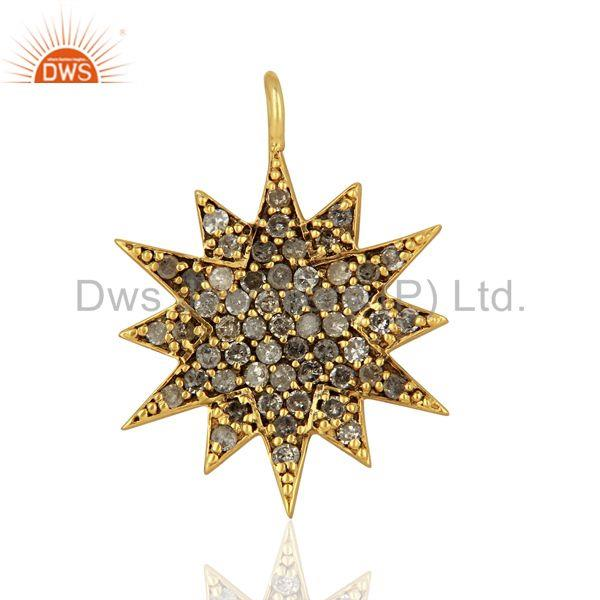 Gold Plated 925 Silver Pave Diamond Star Charm Pendant Supplier