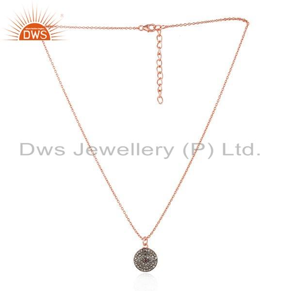 Natural Diamond Evil Eye Design Rose Gold Plated Silver Chain Pendant