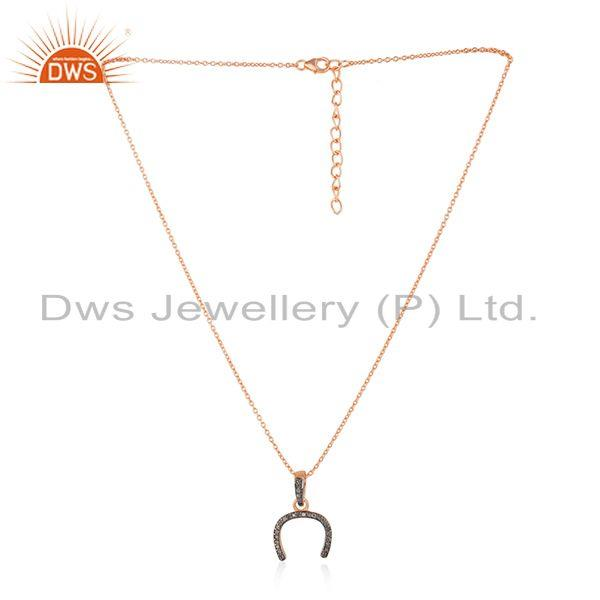 Rose Gold Plated 925 Silver Pave Diamond Horseshoe Charm Pendant