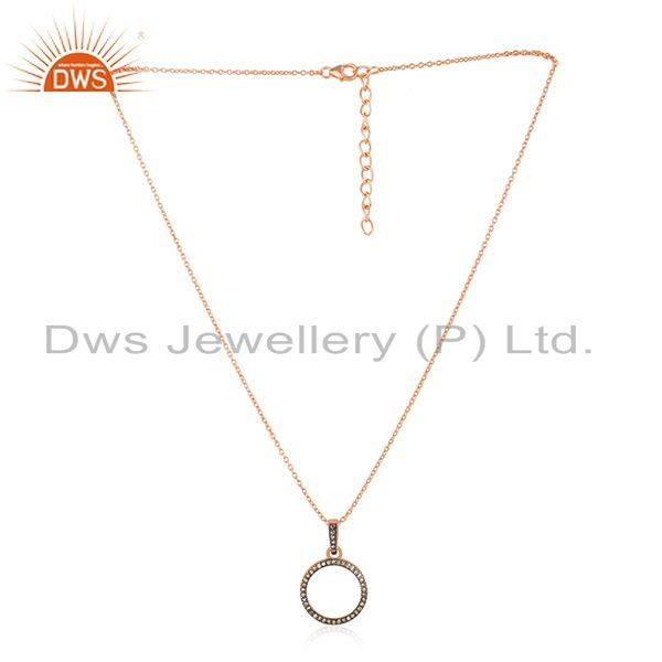 14k Rose Gold Plated Sterling Silver Pave Diamond Pendant Wholesaler