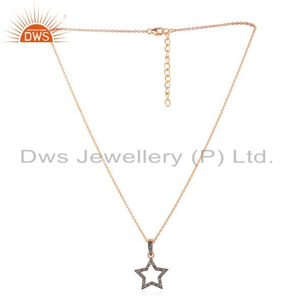 Rose Gold Plated Star Charm Pave Diamond Sterling Silver Chain Pendant