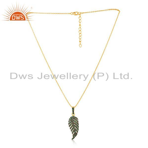 Gold Plated Sterling Silver Chain Pave Diamond Feather Design Pendant