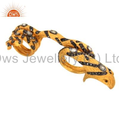Pave Set Diamond Double Finger Snake Ring Made In 18K Gold Over Sterling Silver