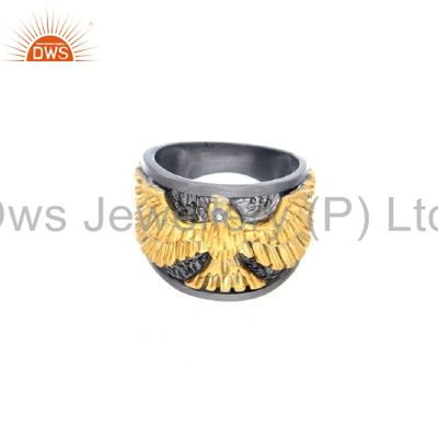 18K Gold Over Sterling Silver Pave Set Diamond Eagle Dome Ring