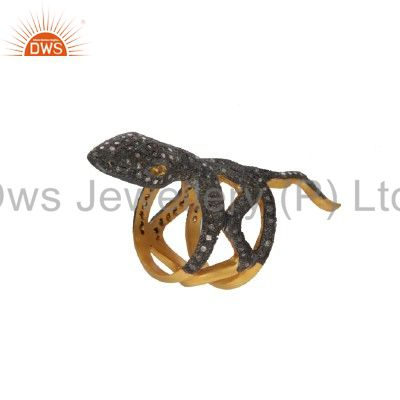 18K Yellow Gold Over Sterling Silver Pave Set Diamond Vintage Look Snake Ring