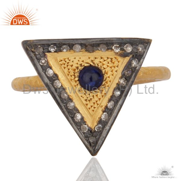 Natural Pave Diamond 18K Gold On 925 Sterling Silver Blue Sapphire Gemstone Ring