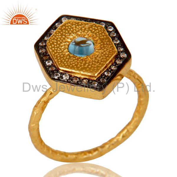18K Yellow Gold Plated Sterling Silver Blue Topaz Hammered Band Ring With CZ
