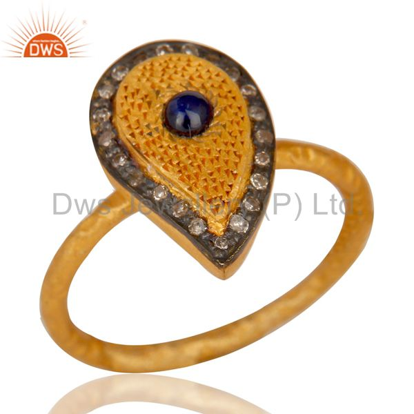 18k Gold Plated 925 Sterling Silver Blue Sapphire Pave Set Diamond Party Ring