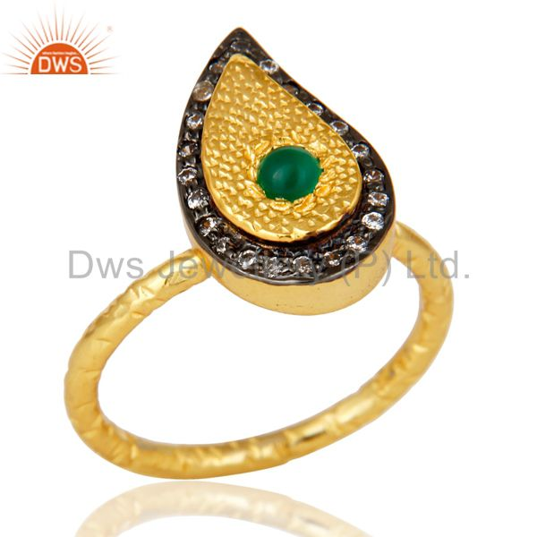 14K Yellow Gold Plated Sterling Silver Green Onyx Hammered Drop Ring With CZ