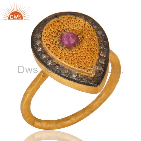 Ruby Pave Diamond Hammered Band Sterling Silver Ring - Yellow Gold Plated