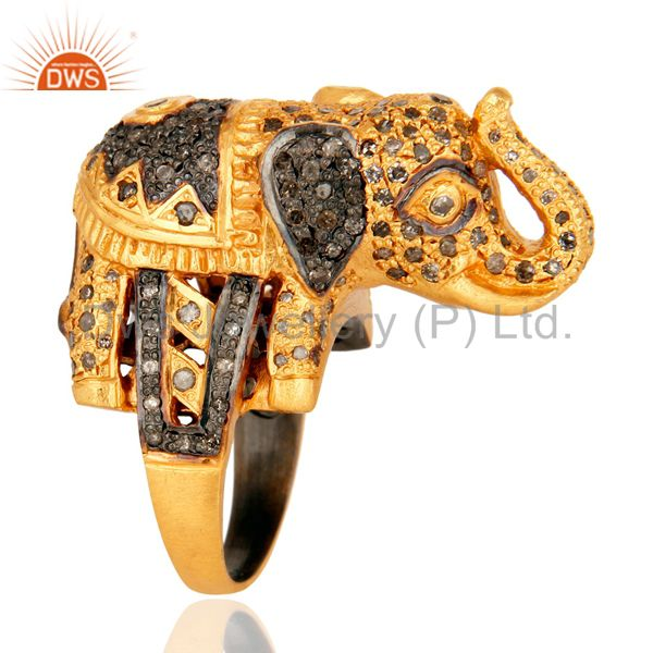 925 Sterling Silver Pave Set Diamond Elephant Design Ring - Gold Plated