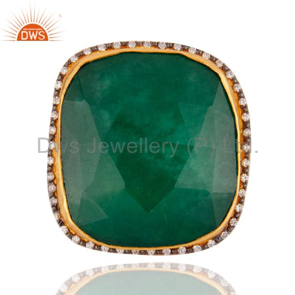 18K Yellow Gold Plated Green Aventurine And CZ Cocktail Fashion Ring