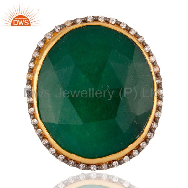 Faceted Green Aventurine Gemstone 22K Gold Plated Cocktail Ring With CZ