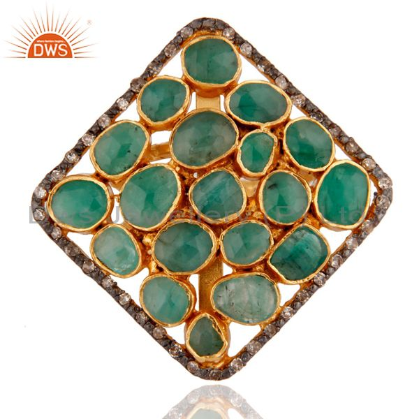 Emerald Gemstone 18ct Gold Plated Plated on Sterling Silver Ring With Diamond