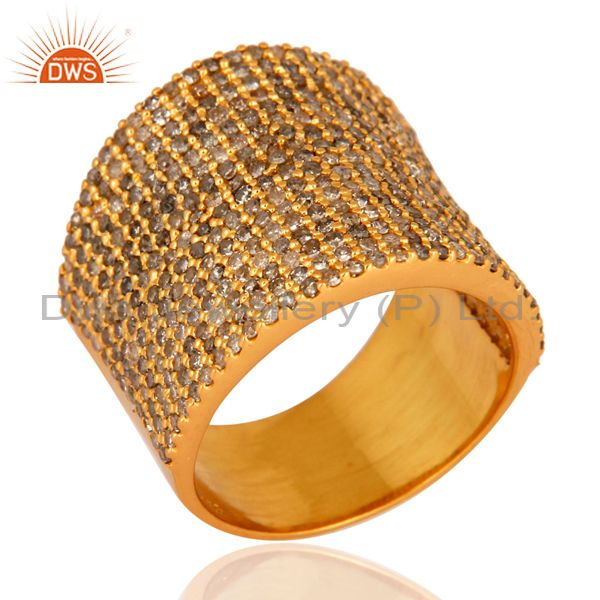 Pave Diamond 18 k Gold Over 925 Sterling Silver Fashion Dome Ring Band Jewelry