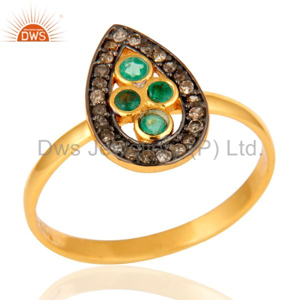Beautiful Emerald Gemstone Ring With Diamond Accents In 18K Gold Over Silver 925