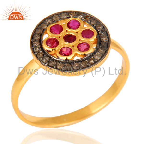 Natural Ruby Pave Diamond Ring In 18K Yellow Gold Over Sterling Silver
