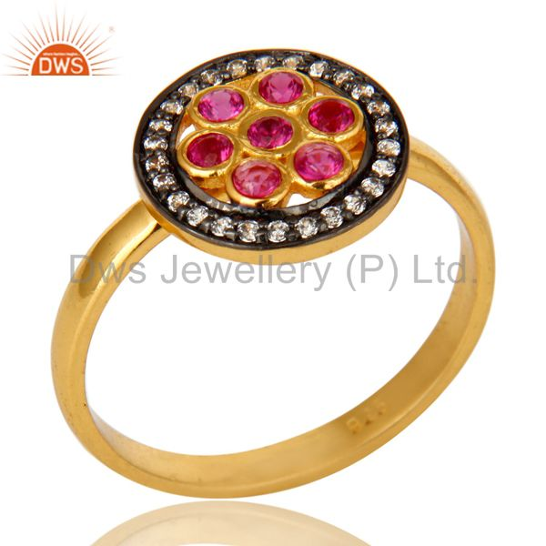 Shiny 14K Yellow Gold Plated Sterling Silver Ruby Cubic Zirconia Cocktail Ring