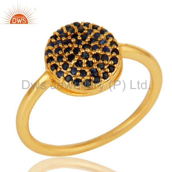 18K Yellow Gold Plated Sterling Silver Pave Blue Sapphire Stackable Ring