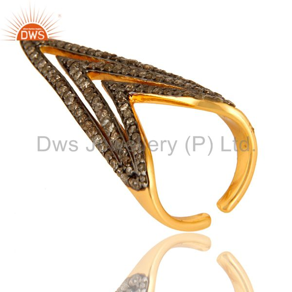 Pave Set Diamond Nail Fashion Ring Made In 14K Gold Over Sterling Silver