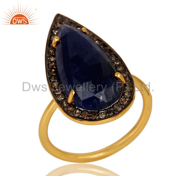 18K Yellow Gold Sterling Silver Pave Diamond And Blue Sapphire Statement Ring